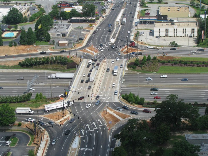 Pleasant Hill Road over I-85 Diverging Diamond Interchange