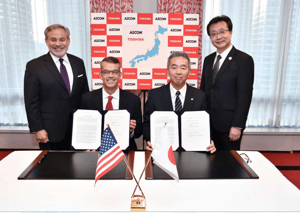 The signing of the collaboration agreement. From left to right: Dan Brouillette, Deputy Secretary, U.S. Department of Energy; Mark Whitney, Executive Vice President and General Manager for AECOM's Nuclear & Environment strategic business unit; Goro Yanase, Chief Nuclear Officer, Toshiba ESS; and Taizo Takahashi, Commissioner, Agency for Natural Resources and Energy (ANRE).