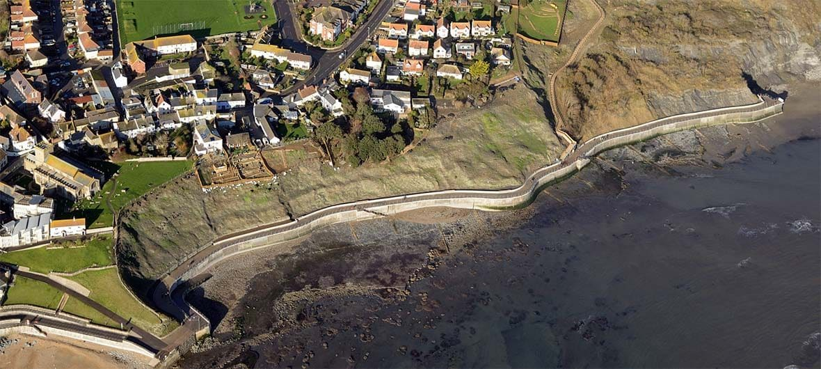Aerial view of the sea wall