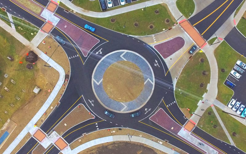 An aerial shot of the Summit Street improvements