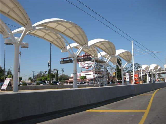 AECOM (legacy Shimmick), in a joint venture with AECOM (legacy URS) and another firm, performed the extension of the Los Angeles Metro Gold Line light rail system six miles eastward, connecting downtown Los Angeles with East Los Angeles.
