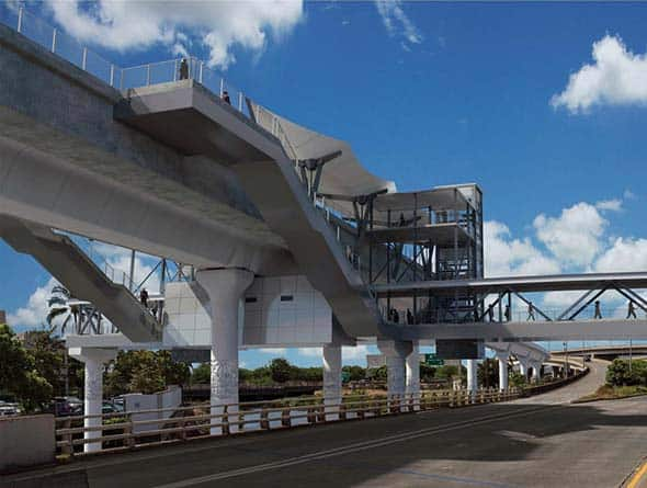 AECOM (legacy Shimmick), in a joint venture, is performing the HART Airport Guideway and Stations design/build project involving the construction of more than five miles of a new elevated guideway between the Middle Street Transit Center Station and Aloha Stadium in Hawaii.