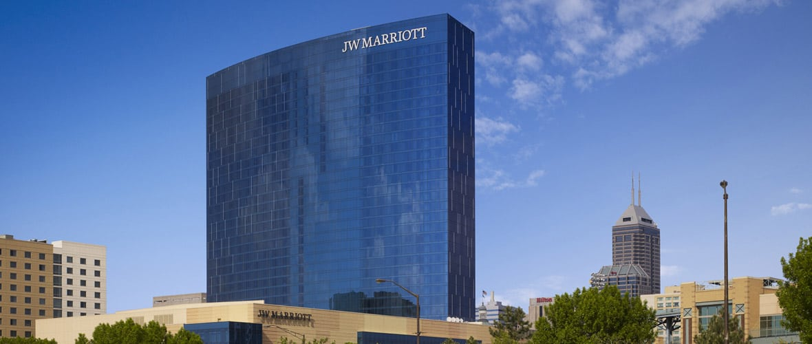 JW Marriott Indianapolis, a 1,500,000-square-foot, 34-story crescent-shaped luxury hotel tower